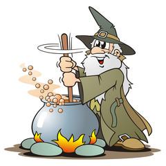 Green Wizzard with Cauldron