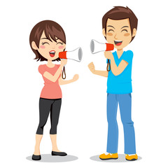 Funny concept of couple arguing with megaphone