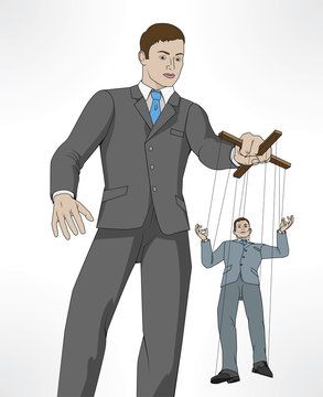 Controlling business puppet concept
