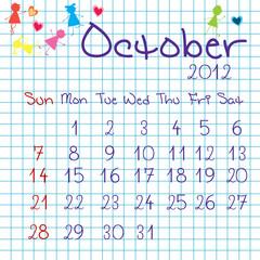 Calendar for October 2012