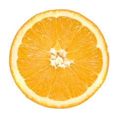slice of orange on white