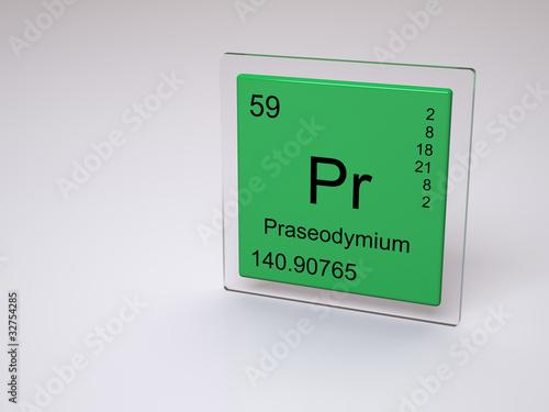 Praseodymium Symbol Pr Element Of The Periodic Table Stock