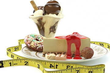 rich calorie desserts surrounded by a measuring tape