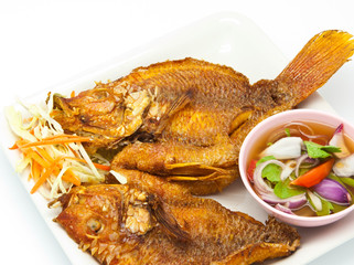 Fried snapper with chili sauce