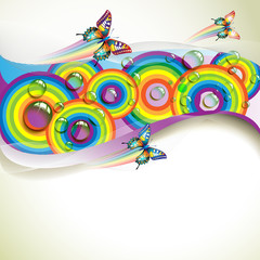 Background with butterflies and drops of water over rainbow