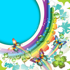 Background with clover and drops of water over rainbow