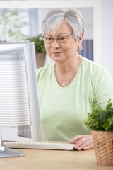 Senior woman browsing internet at home