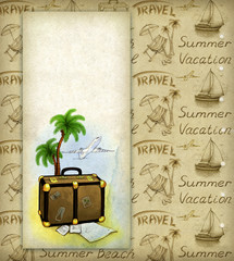Background with travel illustration