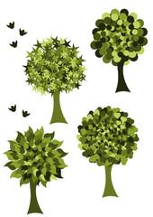 green trees icon set