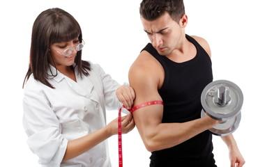 Measuring his hard workout