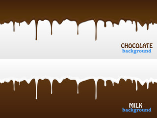 Flowing chocolate and milk drops