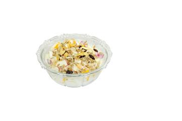 Fresh fruits with yogurt and muesli