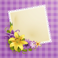 Wall Mural - vintage greeting card with flowers