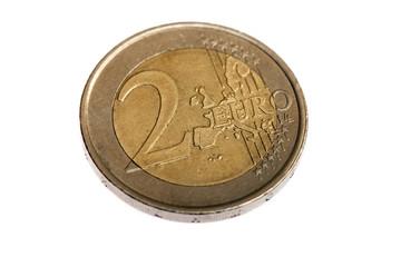 Two Euro coin, extreme macro shot, on white background