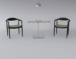 Interno con 2 sedie e tavolino
