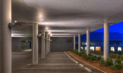 Empty Parking Garage in the Evening