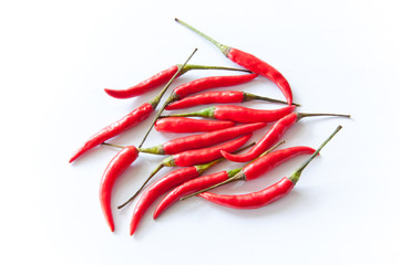 Red chili peppers. Isolated on white background.