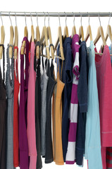 colored Tee Shirts hanging