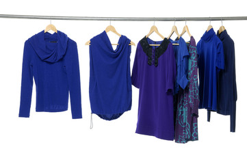 Fashion blue clothing rack display