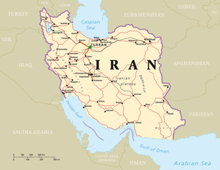 Iran political map with capital Tehran, national borders, most important cities, rivers and lakes. English labeling and scaling. Illustration.