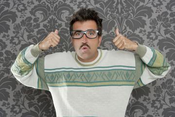 nerd pensive silly man ok gesture retro glasses
