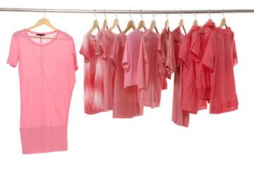 Close up fashion red t-shirt rack