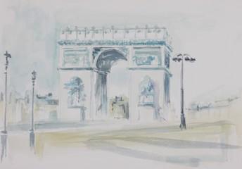 Poster Illustration Paris champ Elysée