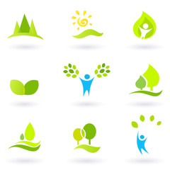Tree, leaves and ecology vector icon set (blue and green)