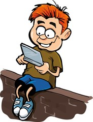 Cartoon of boy playing a hand held computer gamer