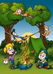 Spoed Foto op Canvas Bosdieren Camping - Cartoon Background Illustration