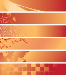 set - vector red and orange banners