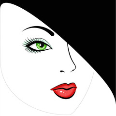 face green-eyed beautiful girl in a black hat