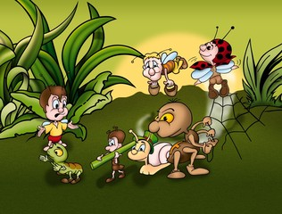 Insect World - Cartoon Background Illustration, Bitmap