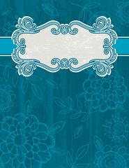 blue grunge background with decorative label