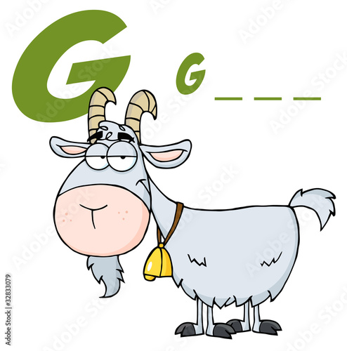 4 Letter Cartoon Characters : Quot goat cartoon character letter g stock image and royalty