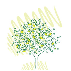 tree icon, simple, freehand drawing