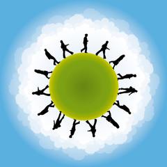 planète avec personnages symbolisant la population mondiale