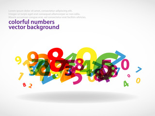 Abstract colorful numbers background