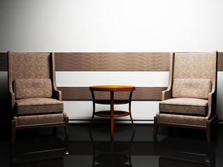 Modern  interior design with two elegant armchairs and a table