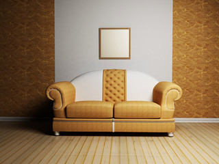 Modern  interior design with a nice sofa and a picture on the wa