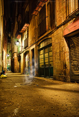Barcelona gothic lane at night