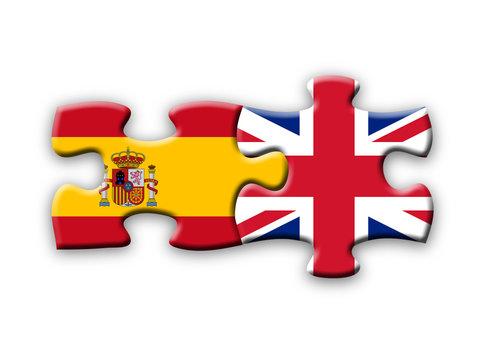 Spain & UK Flags (spanish english languages translation jigsaw)