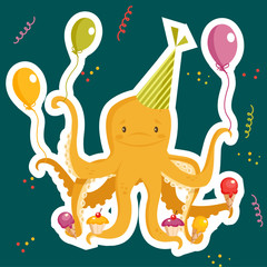 Birthday party card, vector illustration