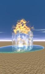 glaçon en flamme