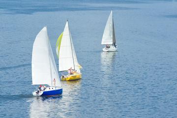 Sail away - three yachts on a summer river.