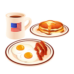 Fried eggs, bacon, pancakes with honey and coffee
