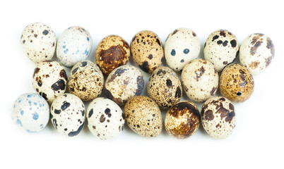 Quail eggs isolated on white the background