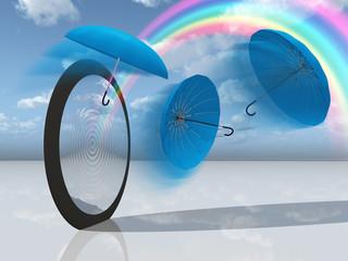 dream scene with blue umbrellas and rainbow