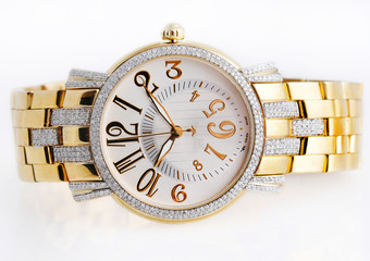 diamond golden wrist watch / hand watch