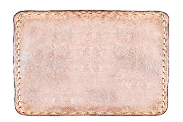 rectangular brown leather label isolated over white
